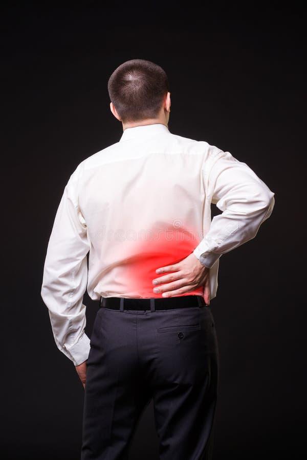 Ból pleców, cynaderki rozognienie, obolałość w mężczyzna ` s ciele zdjęcie stock