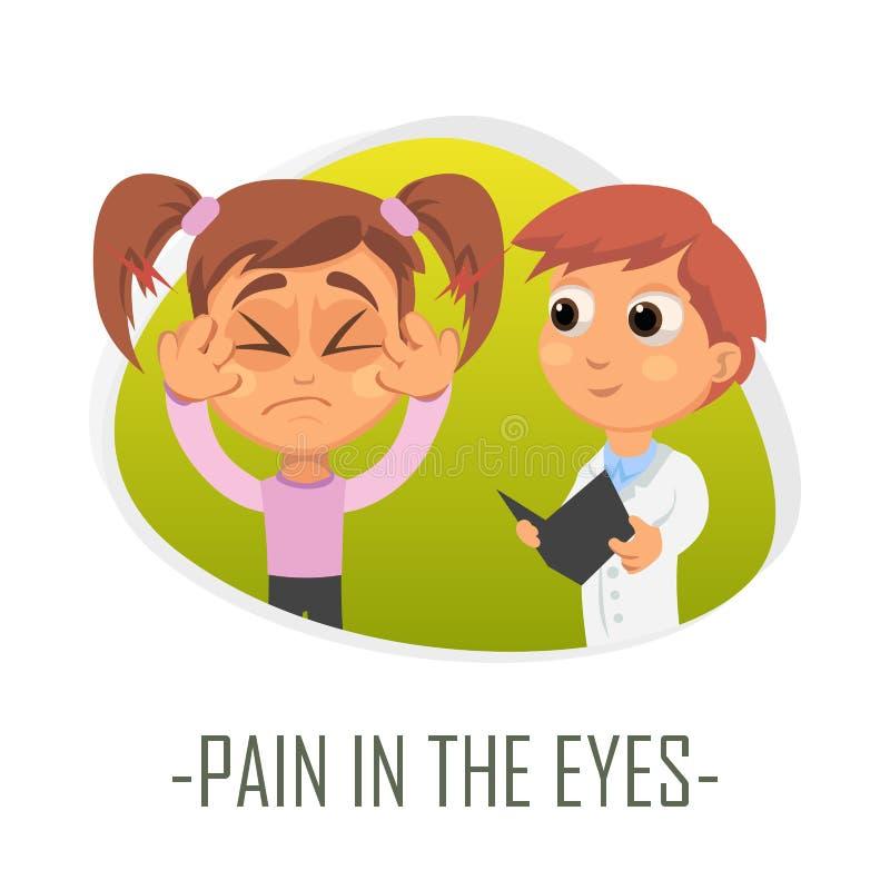 Ból w oka medycznym pojęciu również zwrócić corel ilustracji wektora royalty ilustracja