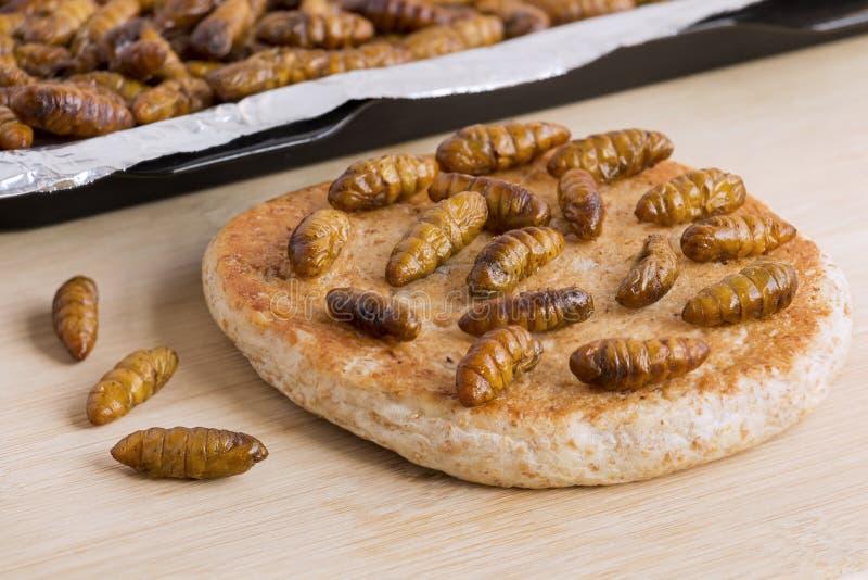 Bómbice Mori de las crisálidas del gusano de seda Insectos de la comida para comer como comida El pan cocido panadería hizo de la foto de archivo libre de regalías