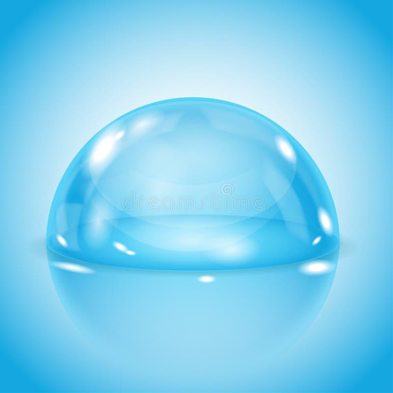 Bóveda de cristal azul Semi esfera transparente brillante en fondo azul stock de ilustración