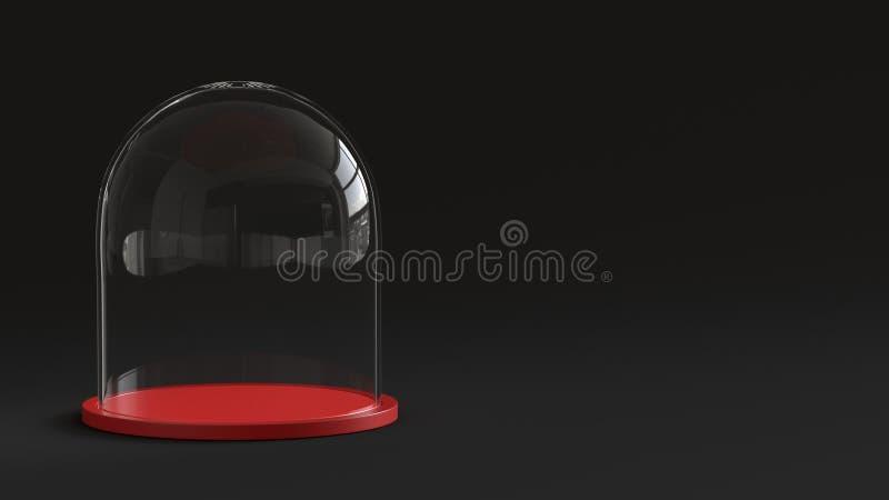 Bóveda de cristal con la bandeja roja en fondo oscuro representación 3d ilustración del vector