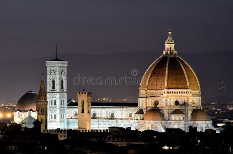 Bóveda de Florencia, opinión de la noche, Toscana fotografía de archivo