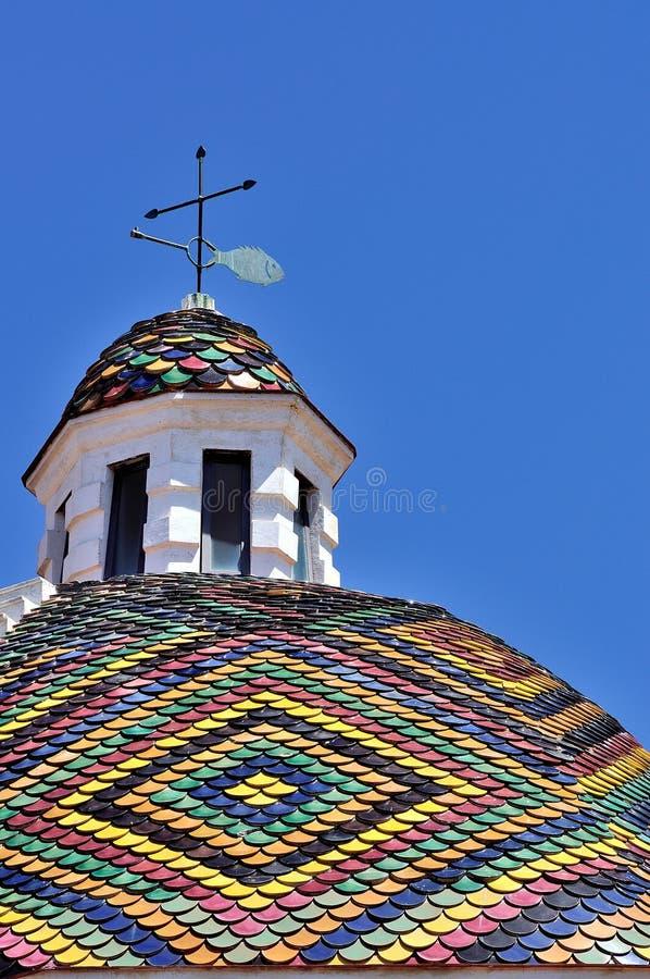 Bóveda de la iglesia de San Micaela, Alghero, Cerdeña, Italia foto de archivo libre de regalías
