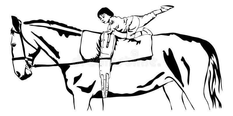 Download Bóveda De La Niña En Un Caballo Ilustración del Vector - Ilustración de niño, pierna: 44854016