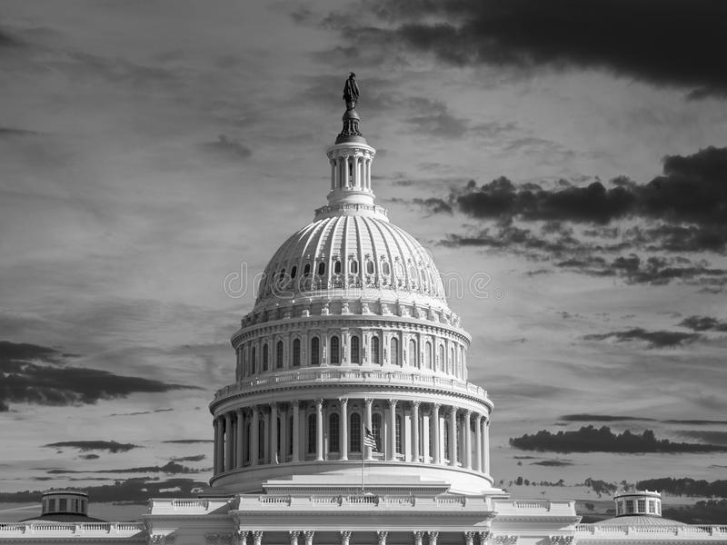 Bóveda del capitolio de Estados Unidos blanco y negro fotografía de archivo libre de regalías