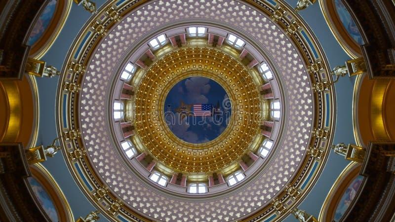 Bóveda del edificio del capitolio del estado de Iowa imagenes de archivo