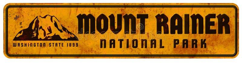 Bóveda del vintage retro de Rainer Washington National Park Sign Grunge del soporte media ilustración del vector