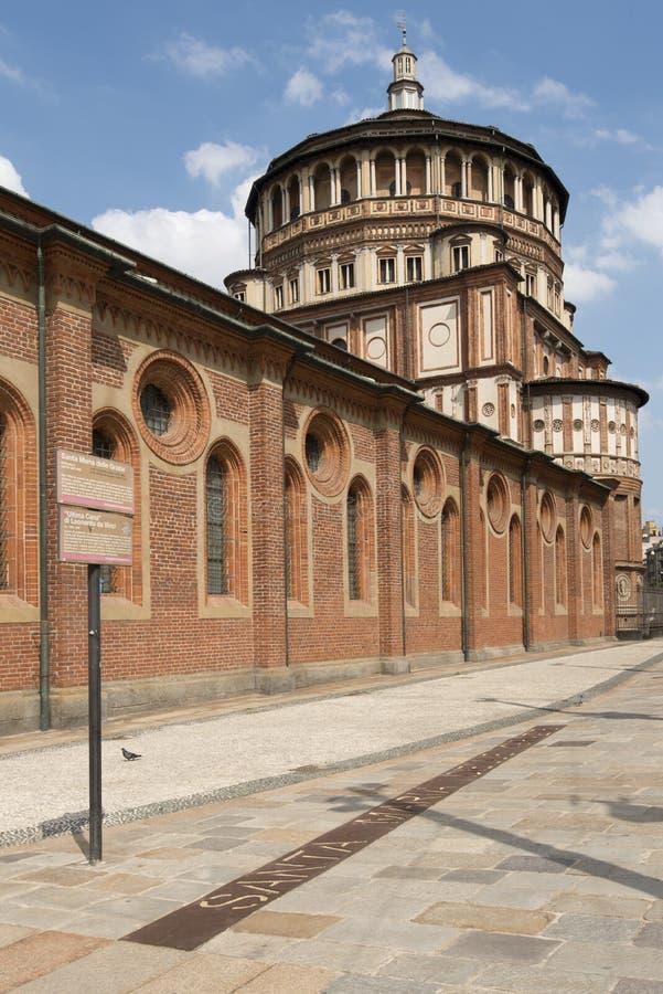 Bóveda y lado, Milano del grazie del delle de Santa María fotos de archivo