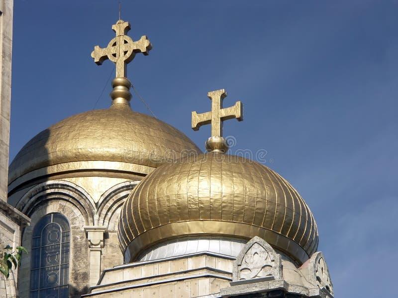 Bóvedas de oro ortodoxas fotografía de archivo