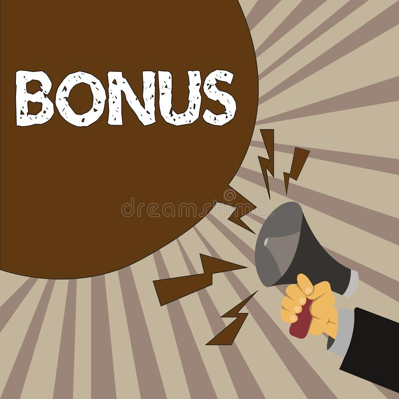 Bônus do texto da escrita A recompensa do significado do conceito para o dividendo extra e o dinheiro de bom desempenho adicionou ilustração stock