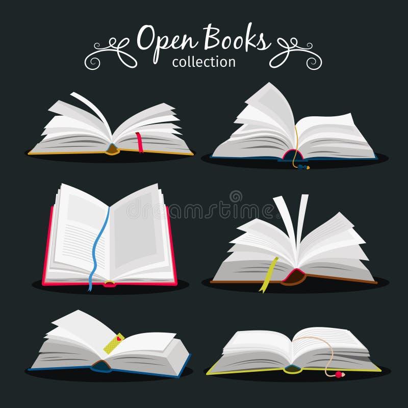 böcker öppnar Ny öppen bokuppsättning med bokmärken mellan sidor för encyklopedi och anteckningsbok-, ordbok- och läroboksymboler stock illustrationer