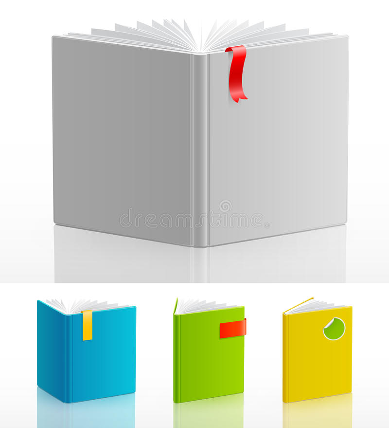 böcker öppnar setstanding stock illustrationer