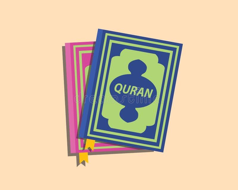 Böcker för Quranislammuslim med den plana stilvektorn royaltyfri illustrationer