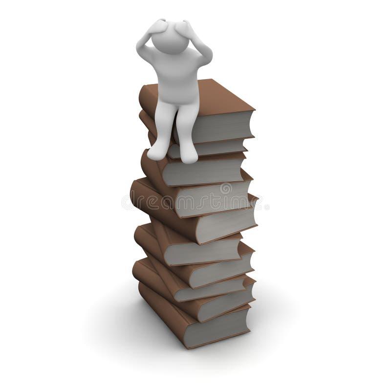 böcker frustrerad bunt stock illustrationer