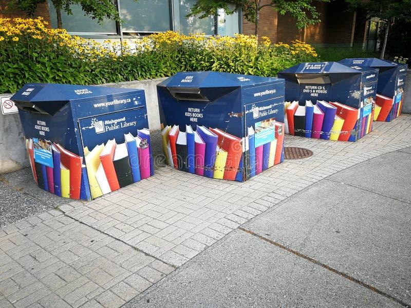 Böcker går askar i Richmond, British Columbia tillbaka arkivbild