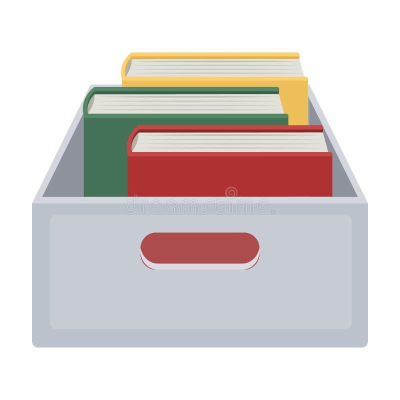 Böcker i asksymbol i tecknad film utformar isolerat på vit bakgrund Arkiv- och bokhandelsymbol vektor illustrationer