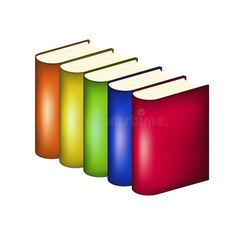 Böcker i mångfärgade räkningar stock illustrationer