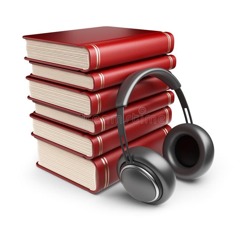 Böcker med ljudsignal hörlurar. symbol 3D  vektor illustrationer
