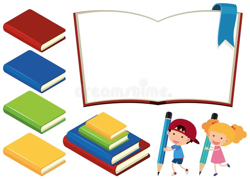 Böcker och lyckliga barn på vit bakgrund vektor illustrationer