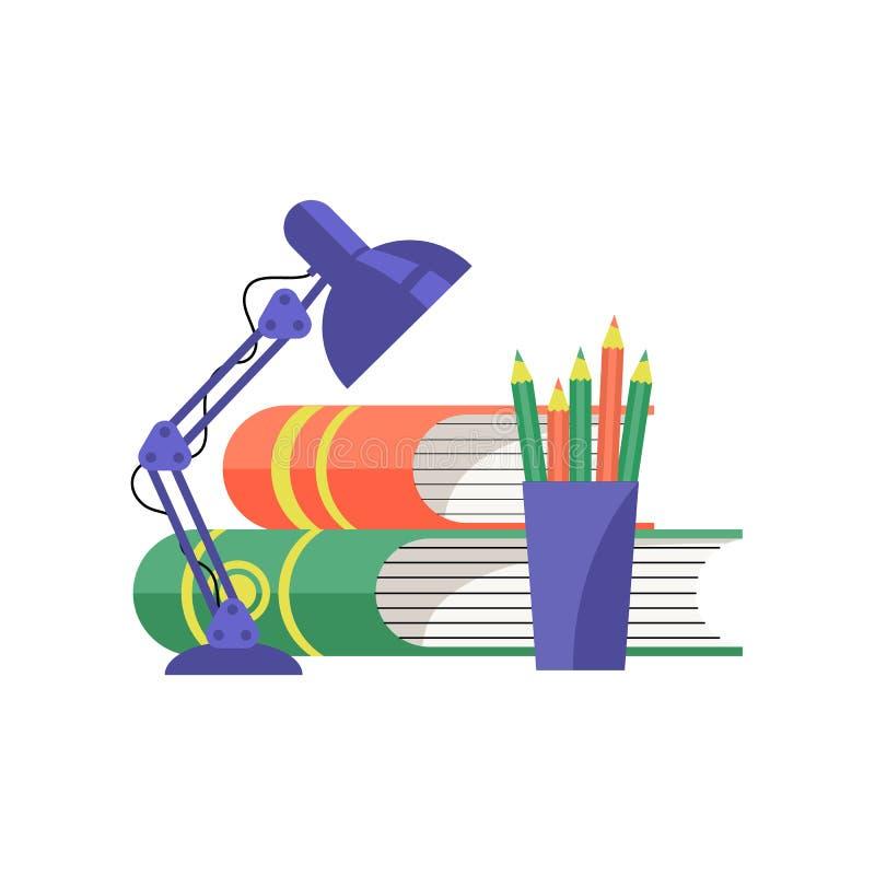 Böcker och tabelllampa också vektor för coreldrawillustration royaltyfri illustrationer