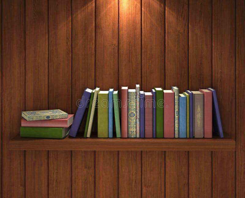 Böcker på den bruna träbokhyllan royaltyfria foton