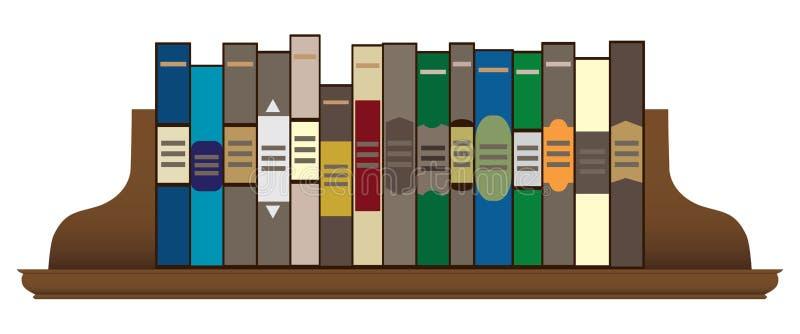 Böcker på en hylla royaltyfri illustrationer