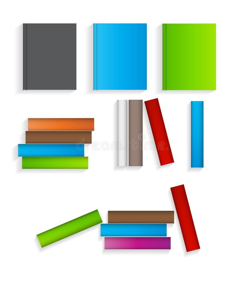 Böcker sänker symboler ställde in vektorillustrationen royaltyfri illustrationer