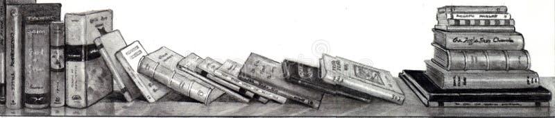 böcker som tecknar blyertspennan vektor illustrationer