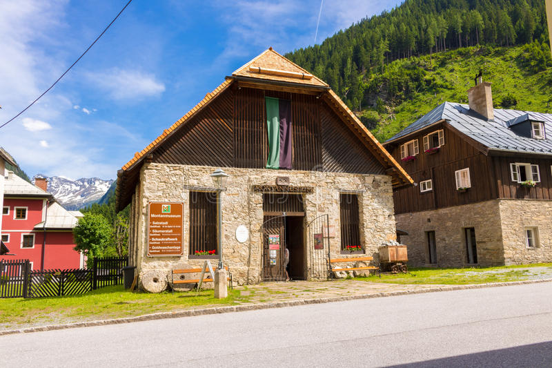 Böckstein, Salzburg Austria - JUNE 09, 2017: Old Gold mining mu. Seum, Montane Museum with gold plants and old houses in Austria stock photos