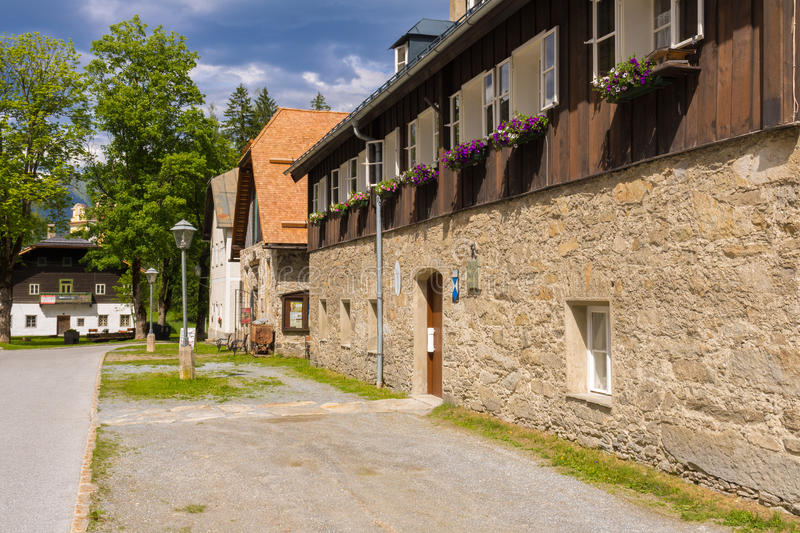 Böckstein, Salzburg Austria - JUNE 09, 2017: Old Gold mining mu. Seum, Montane Museum with gold plants and old houses in Austria stock images