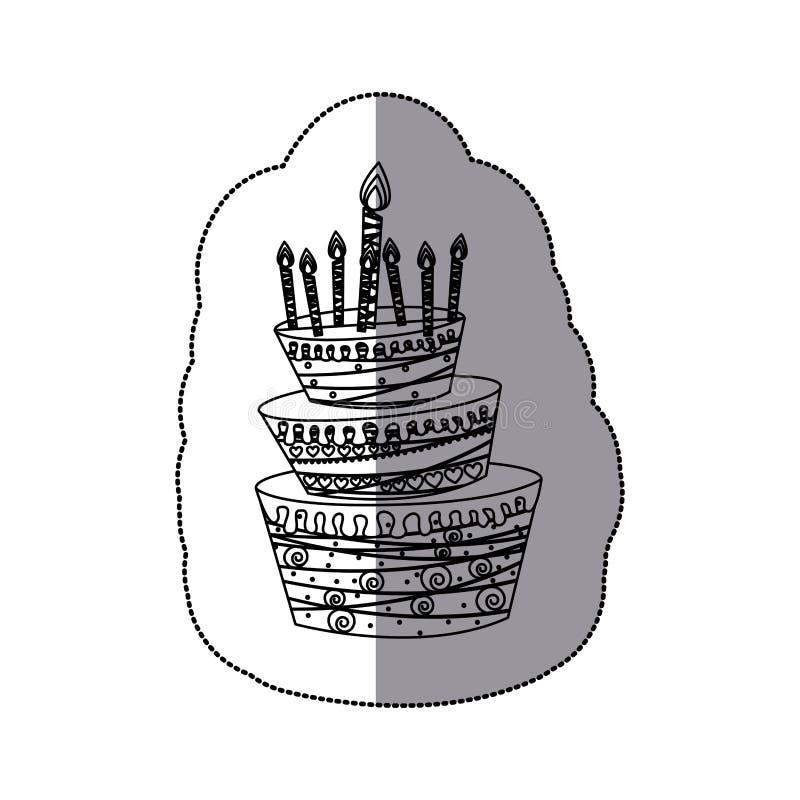 Böden des Aufkleberschattenbild-Kuchens drei mit Kerzen vektor abbildung