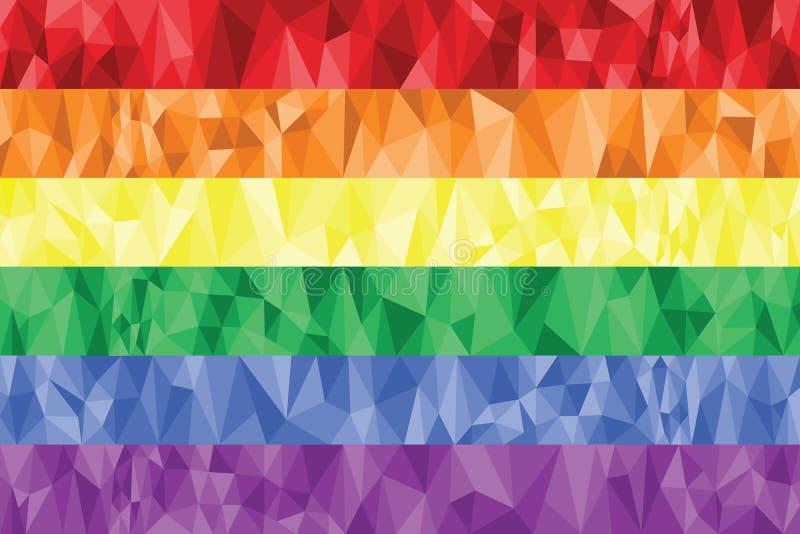 Bög och lesbisk kvinnaregnbågeflagga i poly konst royaltyfri illustrationer