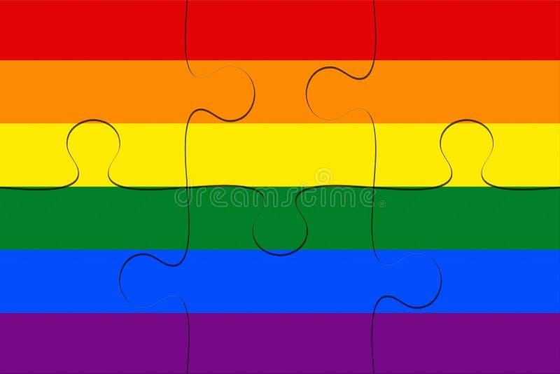 Bög Pride Rainbow Flag Jigsaw Puzzle, illustration 3d royaltyfri illustrationer