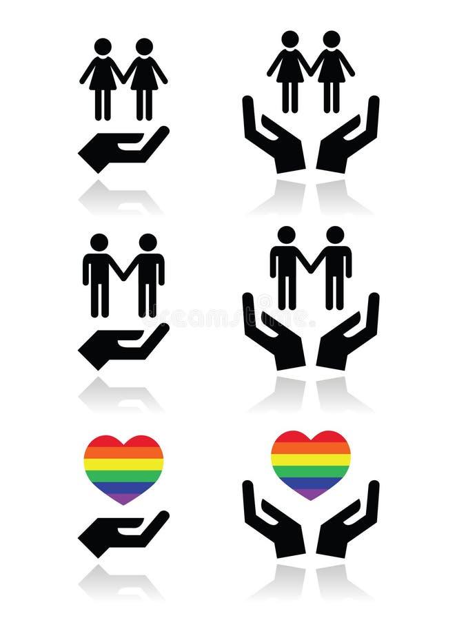Böga ocha lesbiska kvinnan kopplar ihop, regnbågeflaggan med händer som symboler ställer in vektor illustrationer