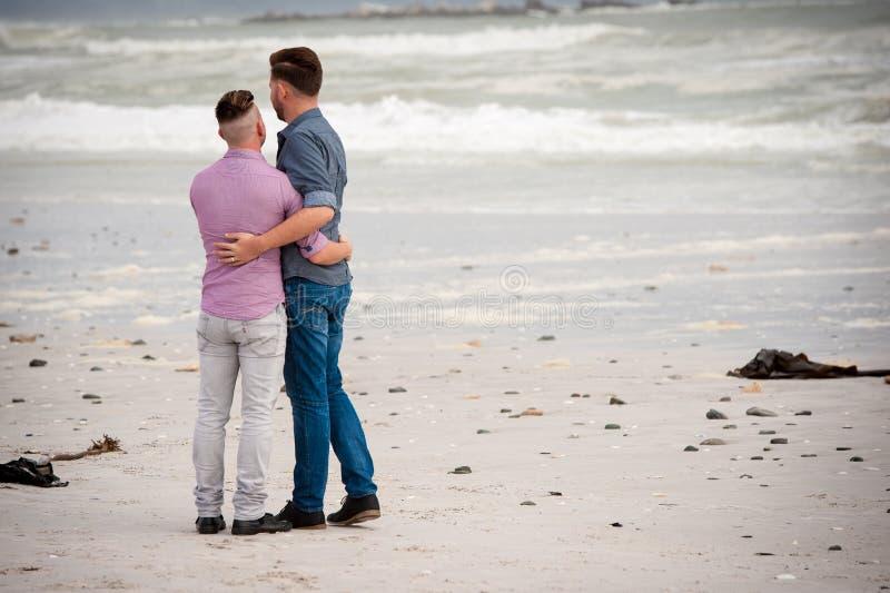 Bögar som omfamnar på en strand royaltyfri fotografi
