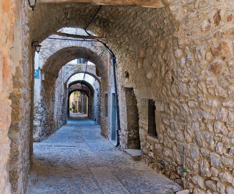 Bögen im Dorf von Mesta in Chios stockfoto