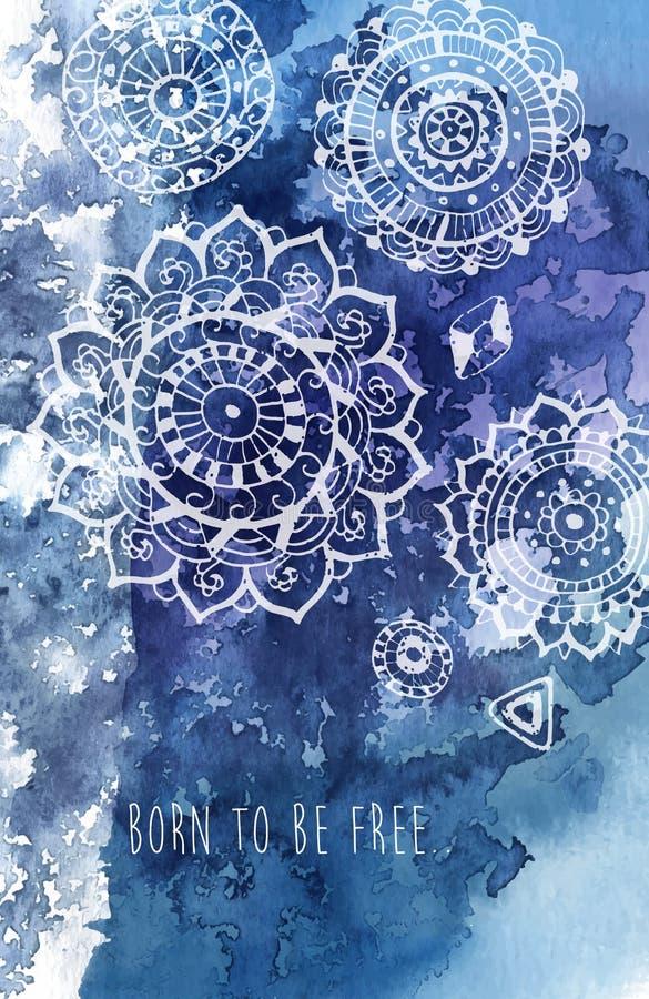 Böhmischer Arthintergrund mit Hand gezeichnetem Mandalamuster lizenzfreie abbildung