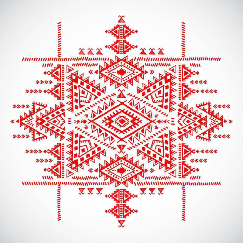 Böhmischer indischer Mandaladruck Weinlese-Hennastrauchtätowierungsart vektor abbildung