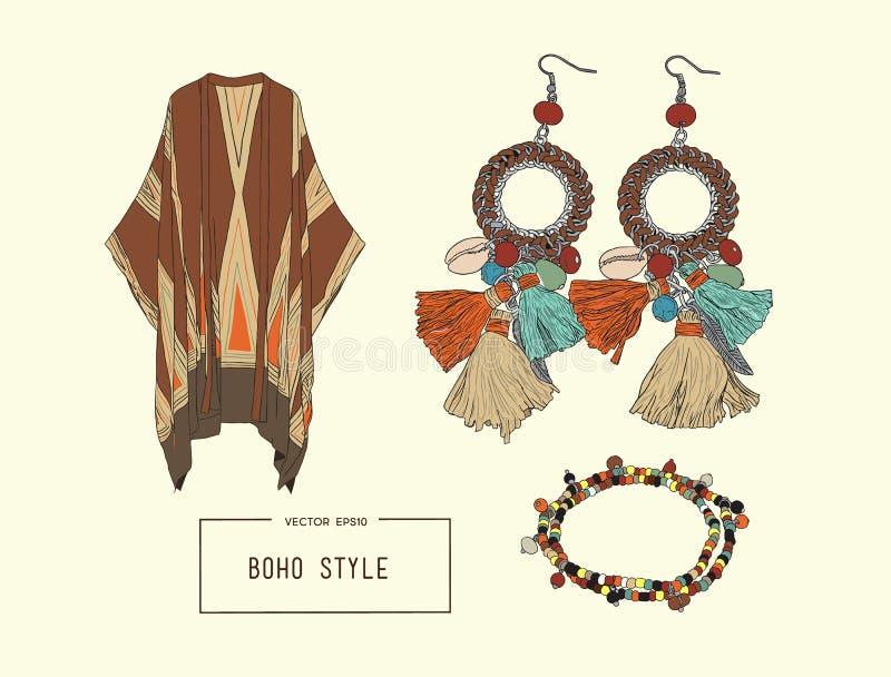 Böhmischer Modeartsatz, boho und Zigeunerkleidungsillustration lizenzfreie abbildung