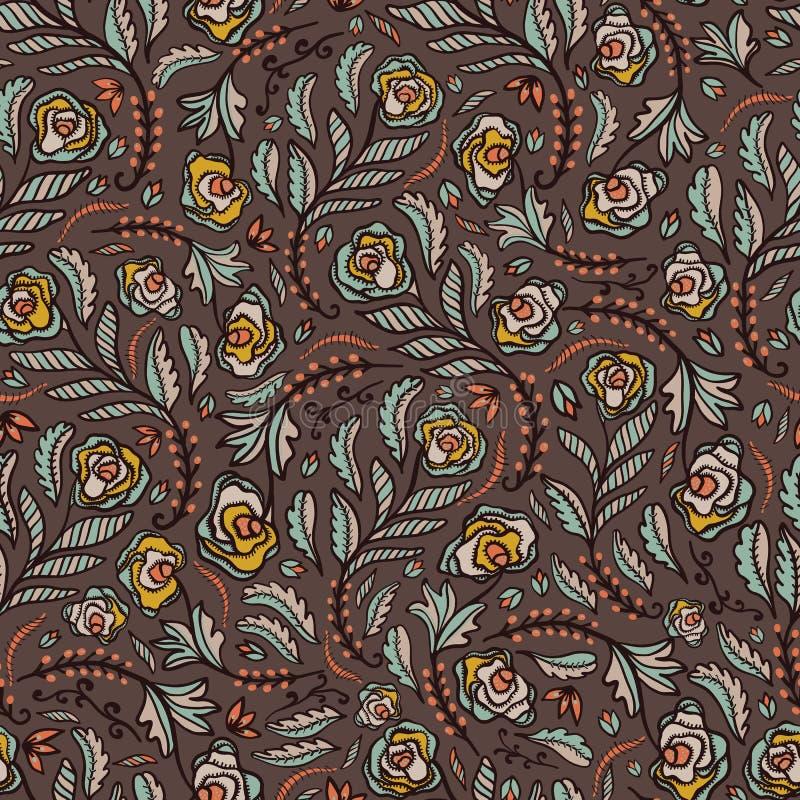 Böhmisches Retro- Blumen ganz über geworfenem Muster, Handgezogener nahtloser Vektor-Volksart-Blumen-Illustration lizenzfreie abbildung