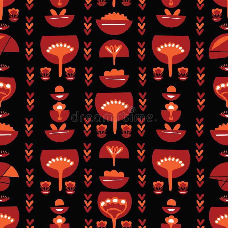 Böhmisches rotes Retro- Blumen stock abbildung