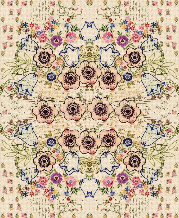 Böhmisches Vintage Floral Bouquet Collage Wandgestaltung vektor abbildung