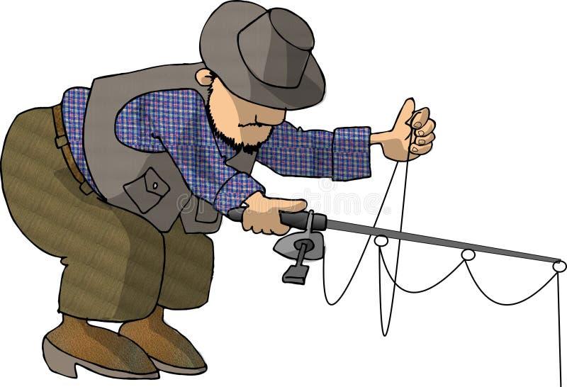 böjande fiskare vektor illustrationer