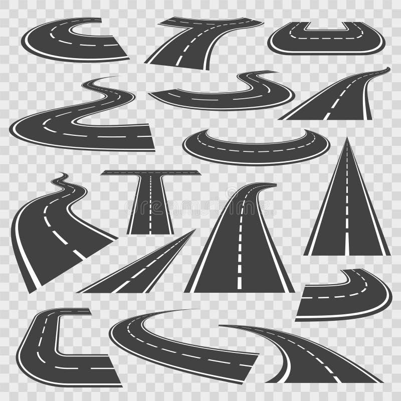 Böjande vägar och höga vägar stock illustrationer