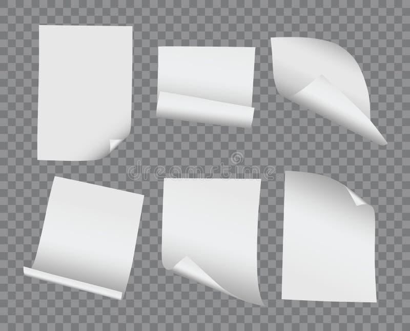 Böjde krullade det realistiska mellanrumet för vektorn och den pappers- samlingen på trans. vektor illustrationer