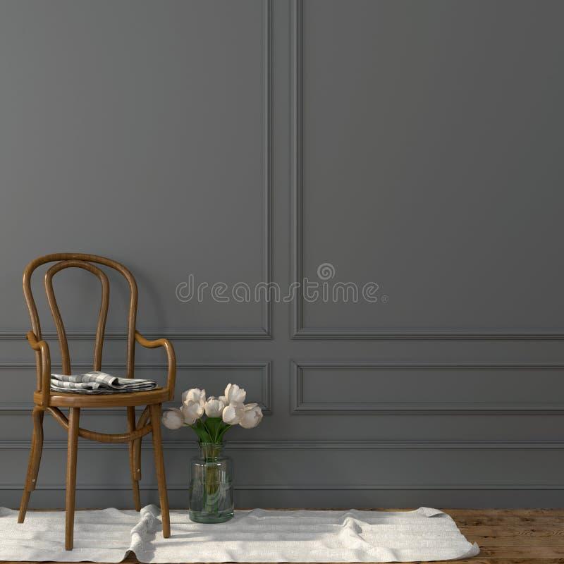Böjde trästol mot en grå vägg royaltyfri fotografi
