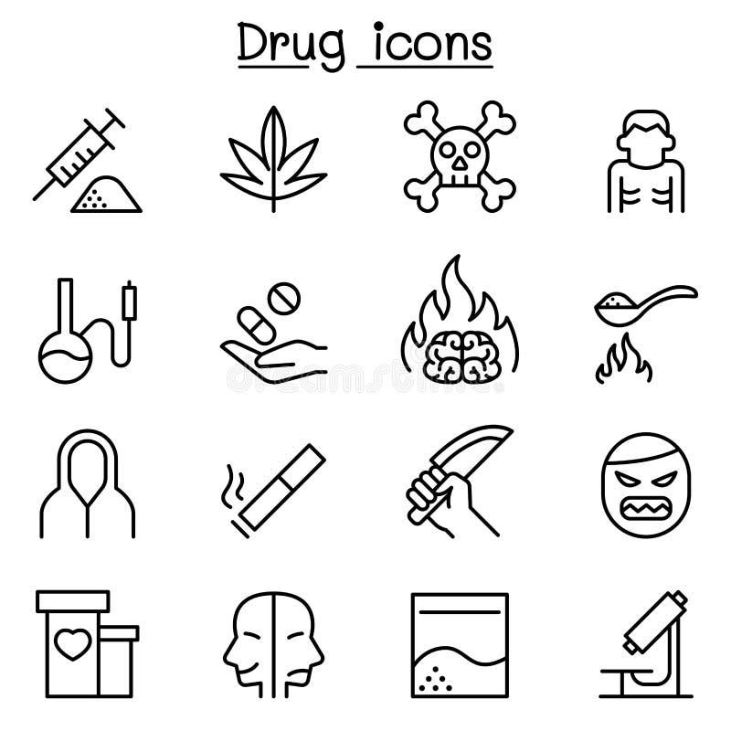 Böjelse- & drogsymbolsuppsättning i den tunna linjen stil royaltyfri illustrationer
