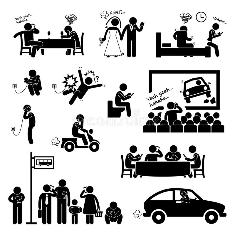 Böjelsetvångstanke genom att använda Smartphone royaltyfri illustrationer