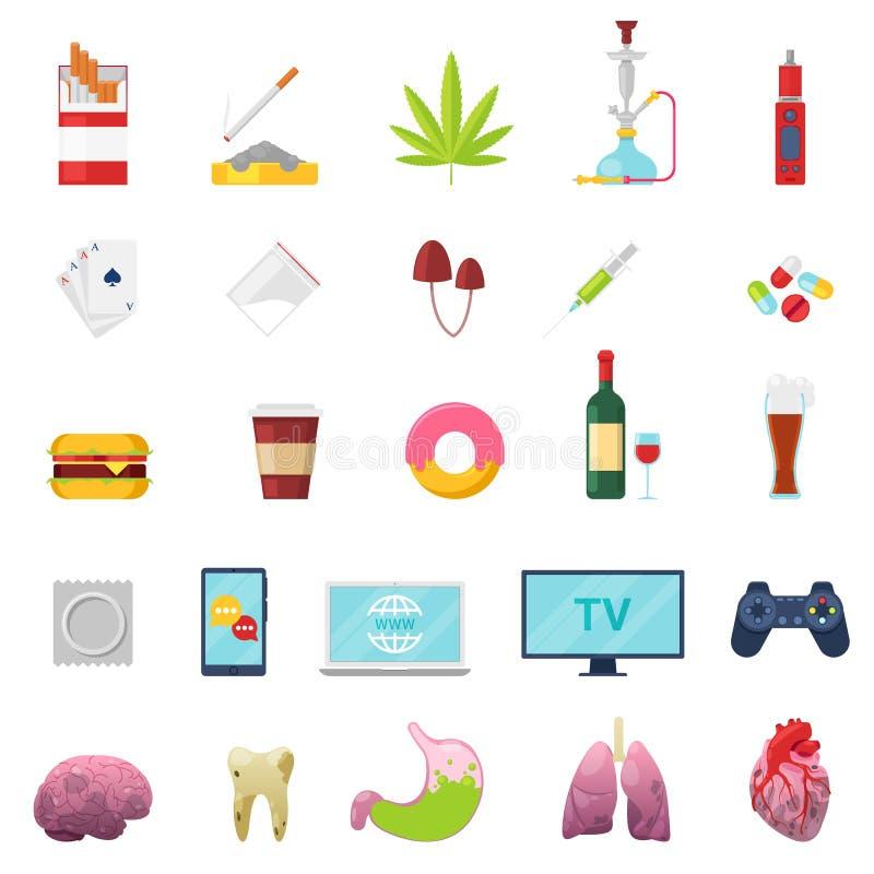 Böjelsevektorn missbrukade och oskick som röker den fastfood- eller för alkoholmissbruk illustrationuppsättningen av sjuk lever f royaltyfri illustrationer