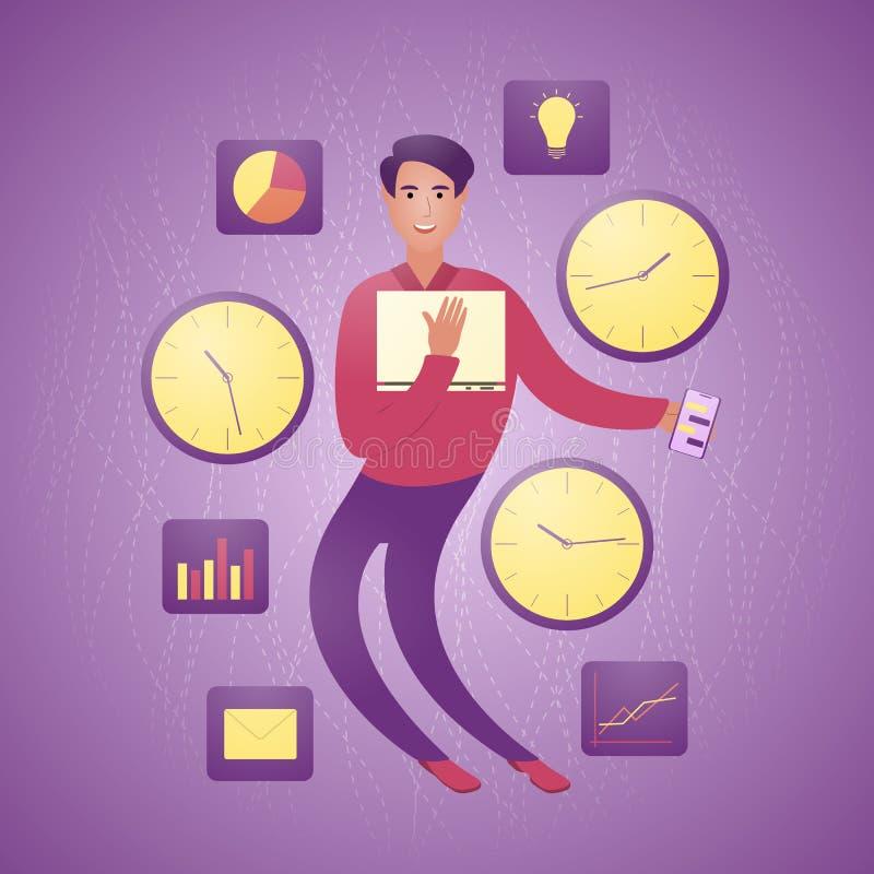 Böjlig modern affärsman mellan klockor och diagram Begreppet av böjligt arbetsschema stock illustrationer